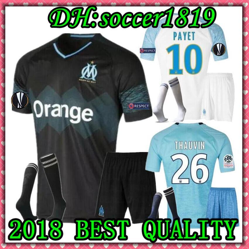 Olympique De Marseille SOCCER Jersey Adult KIT WITH SOCKS 2018 19 OM ... 97bd6367d