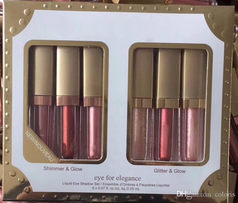 Zestaw makijażu ciekłych cień do powiek w rurce Set Shimmer Gloge and Glitter Glow Eye For Elegance Glamour Oczy Epacked Shipping