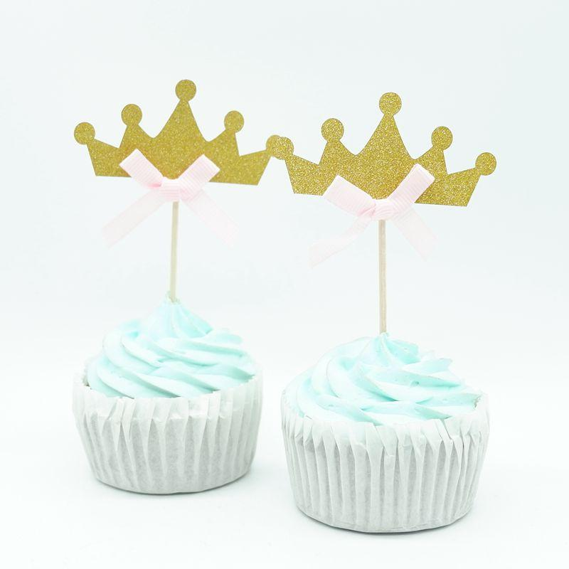 / Oro Princess Crown Cupcake Topper Tema Cartoon Party Supplies Bambini Boy Birthday Party Decorations