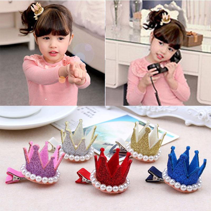 New Cute Crown Pearl Crystal Hair Clip Little Girls Birthday Party Gifts Hairpin For Princess Kids Headband Hair Accessories