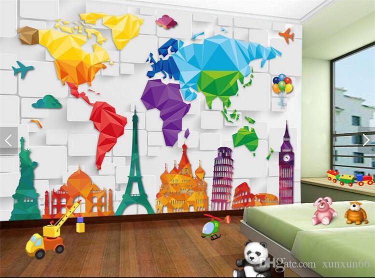 Crianças quarto papel de parede colorido mapa do mundo papel de parede abstrato papel de parede parede 3d papel de parede coberta de rolos de decoração