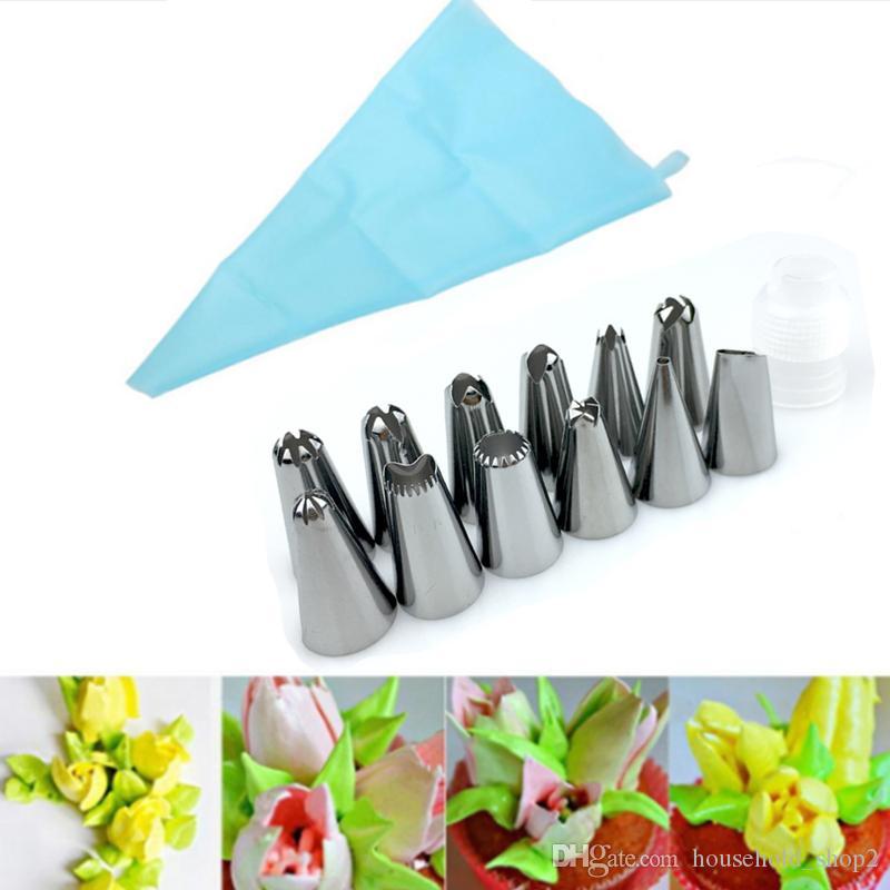DHL pasticceria EVA piping bag sacchetto di pasticceria con 12 pezzi ugelli punte di pasticceria Convertitore strumenti di torta decorativi fai da te