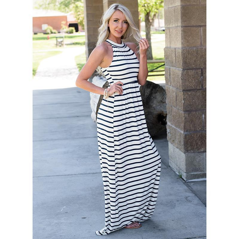 aac5fc3e11 Sexy Maxi Dress Bohemian Style Beach Long Women Dresses Striped Off The  Shoulder Body Dress Summer Party Dresses Vestido WS726U Maxi Dresses  Cocktail ...