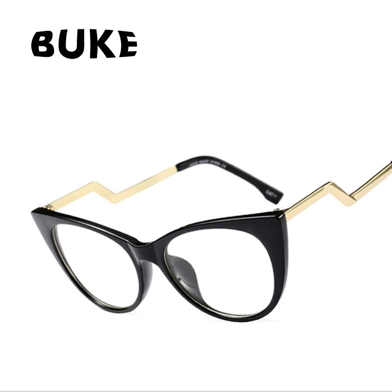 a5d62e9cf0f2 2019 BUKE Luxury Women Cat Eye Eyewear Retro Ladies Clear Lens Glasses Frame  Curved Leg Design UV400 From Lbdwatches