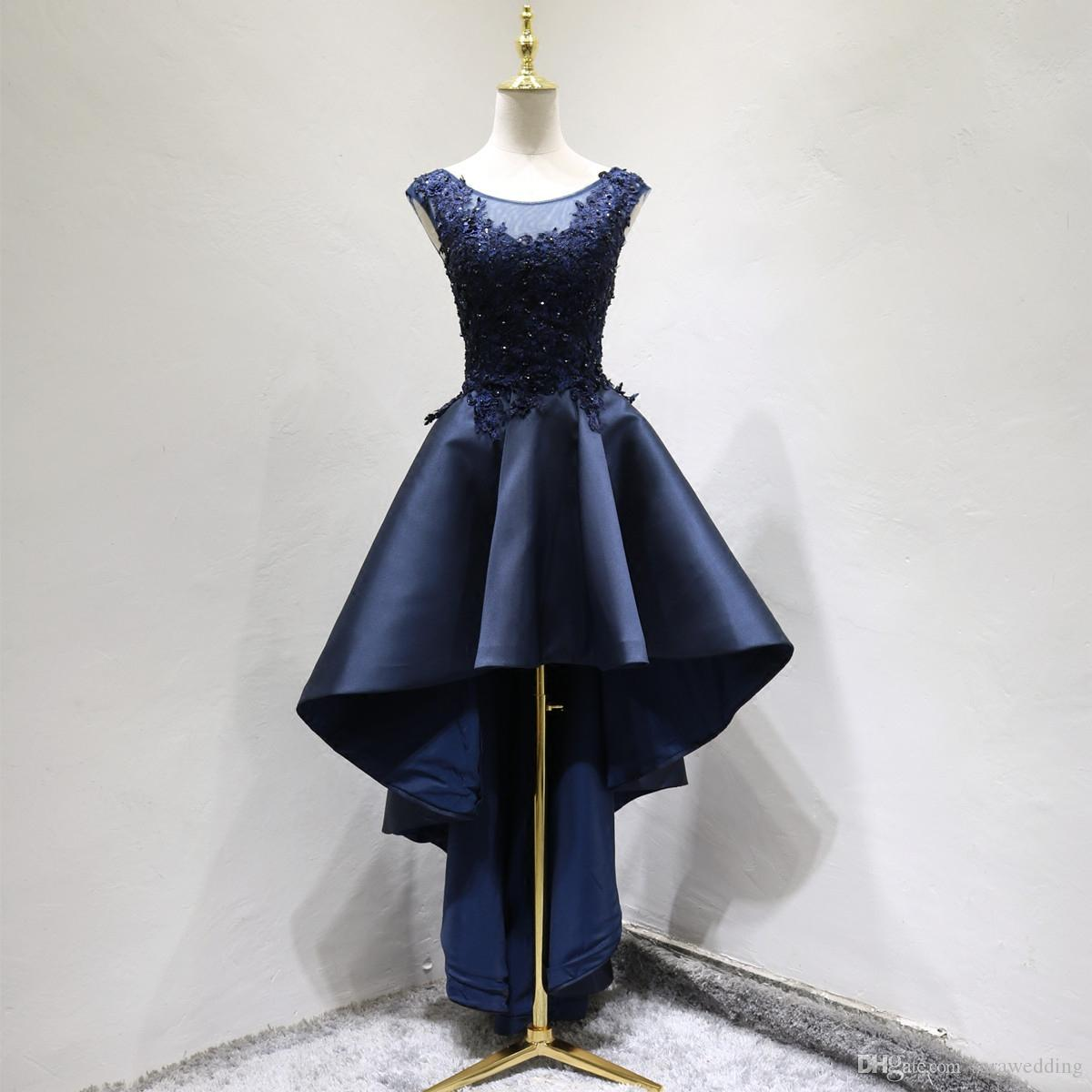 Beaded Lace Satin High Low Prom Dresses Navy Blue Scoop Neck Party ...