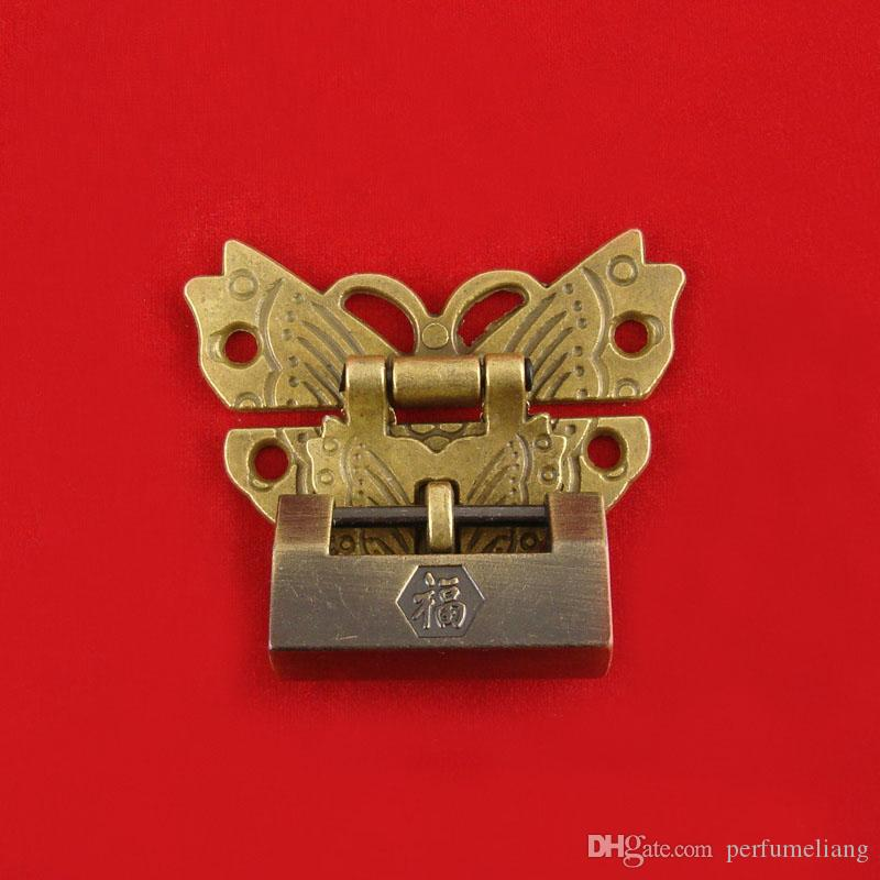 Antique Latches Catches Hasps Solid Clasp Buckles Agraffe Small Lock For Wooden Box Hardware Vintage Butterfly Locks ZA5973