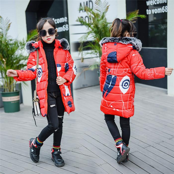 2018 Girls/' cotton-padded clothing winter coat children/'s clothing long style