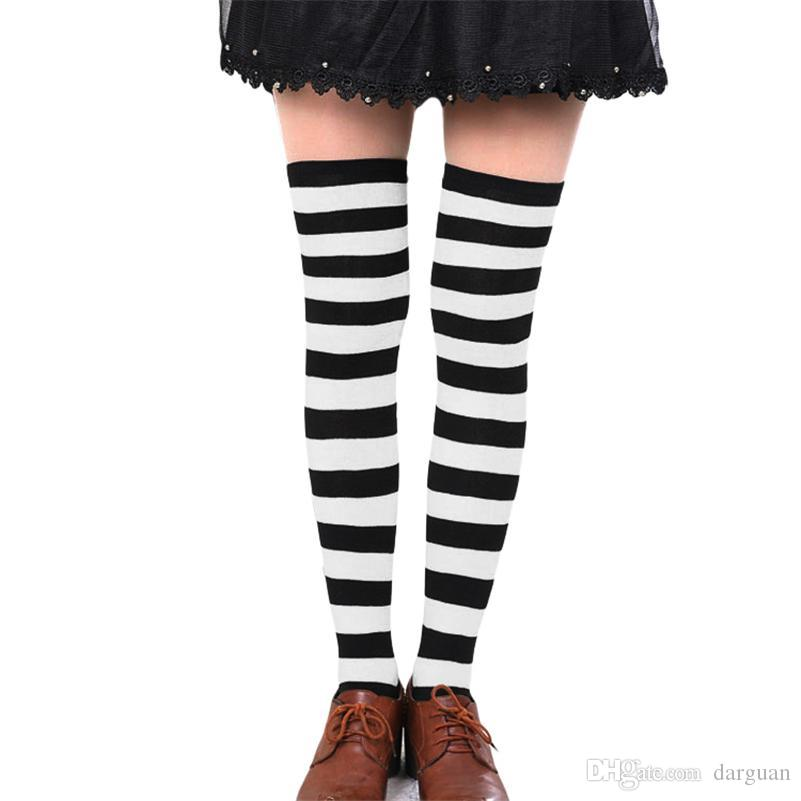 cdf2fdcd2a3 Hot New Sexy Women Girl Striped Cotton Thigh High Stocking Over the ...