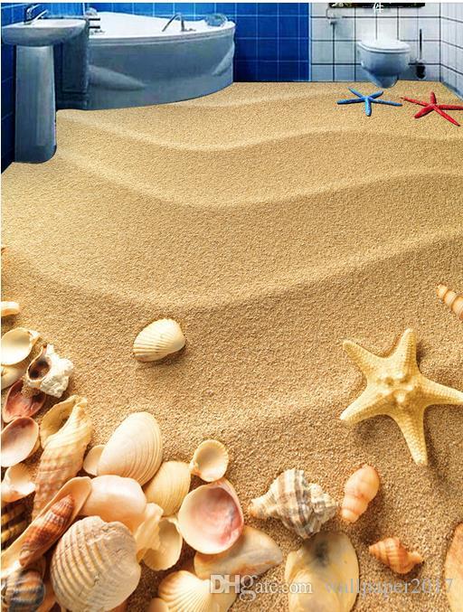 carte da parati decorazioni la casa Beach Shells Starfish Toilets Bathroom Bedroom 3D Floor adesivi pavimenti in vinile
