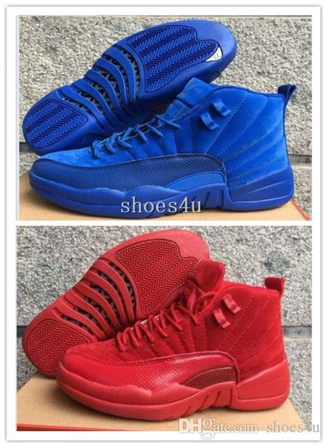 a9e959514fbb5d Cheap Hot New New 12 XII Premium Deep Royal Blue Red Suede Men S Basketball  Shoes Sneakers Women Dan 12s Shoes Size 5.5 13 Basketball Shoes For Men  Kids ...