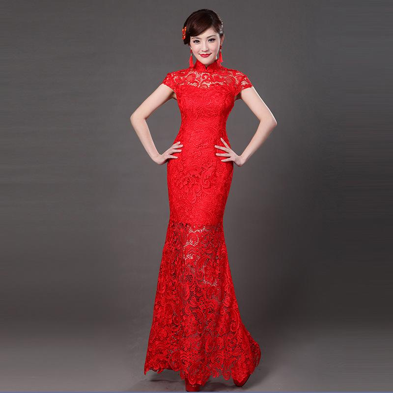Red Lace Modern Chinese Wedding Gowns Traditional Qipao Cheongsam