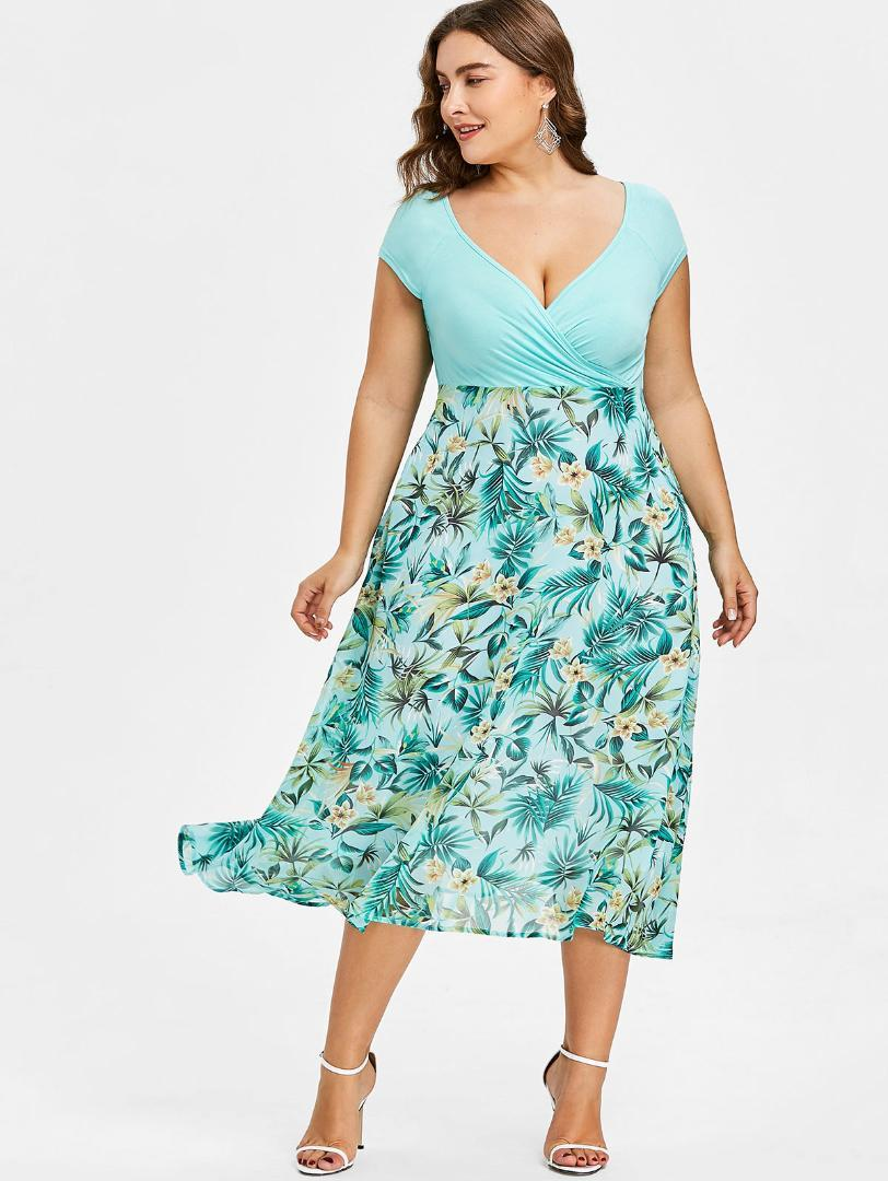 2019 Gamiss Women Plus Size 5XL Tropical Floral Print V Neck A Line Midi  Holiday Dress Casual Short Sleeves Summer Dresses Vestidos From Deborahao a8b9d723ad6c