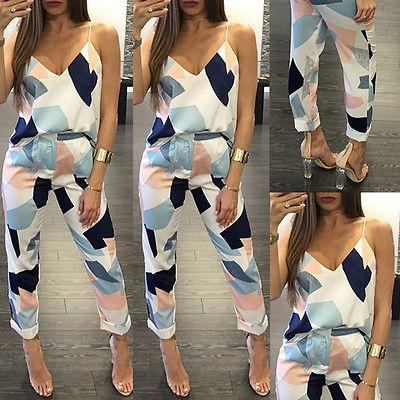 Fashion Women Two Piece Set Printed Deep V Neck Full Length Vest Top Long Pants Casual Oversuit Set Plus Size Cheap Clothing