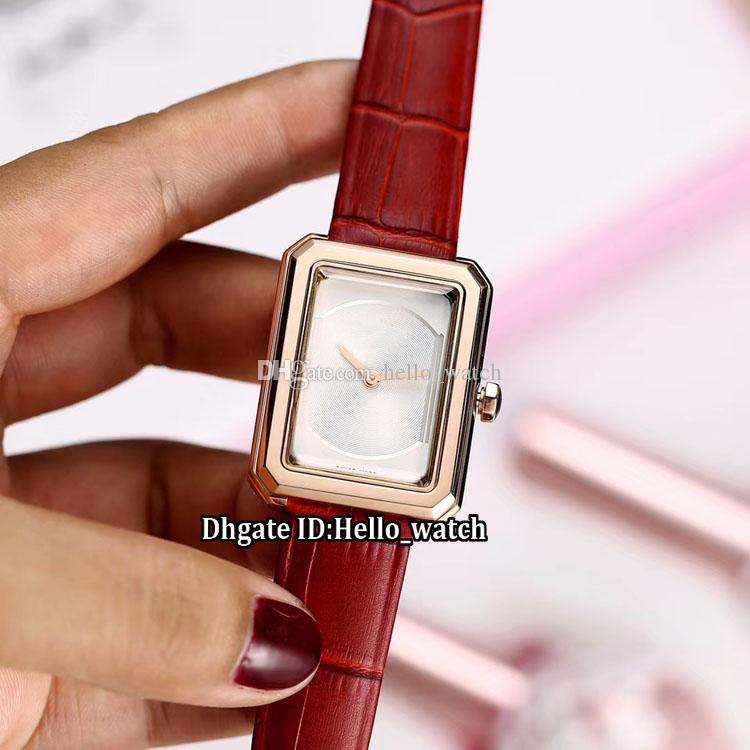 Birthday Gift New BoyFriend H4886 White Dial Swiss Quartz Rose Gold Womens Watch 3D Sapphire Glass Red Leather Strap Fashion Lady Watches Online Wrist