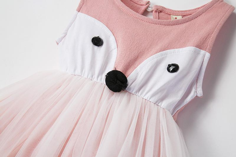 Cute Baby Girl Dress Cartoon Animals Fox Dress Princess Girl Party Wear Dresess For Children School Dress Baby Frocks Outfits