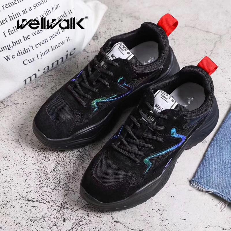 60e18d63ab51 2019 WELLWALK Suede Mesh Breathable Day Shoes For Women Lace Up ...