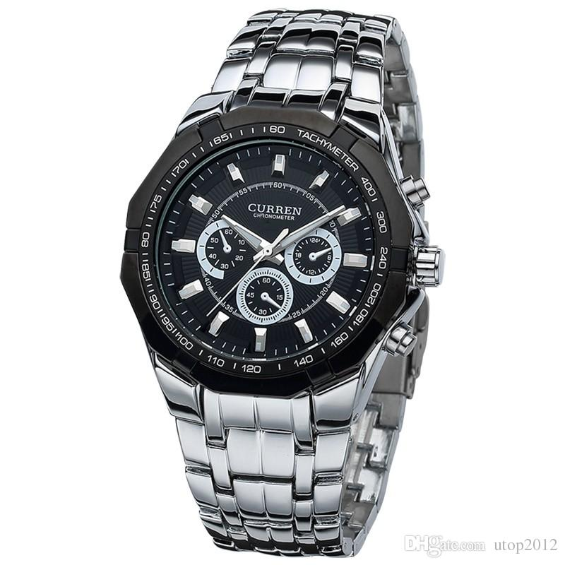 8084 Men Business Watch Clock Curren Mens Watches Top Brand Luxury Military Full Stainless Steel Quartz Wrist Watch Relogio Masculino