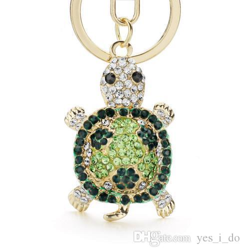 Novelty Crystal Rhinestone Tortoise Keyrings Key Chains Holder For Car Purse Bag Pendant Buckle Fashion Keychains