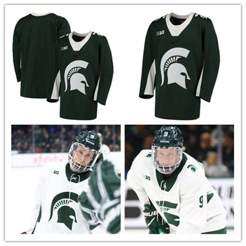 84a3b79acbb Mens NCAA große zehn Michigan State Spartans College Hockey Trikots genäht  weiß grün angepasst Michigan State