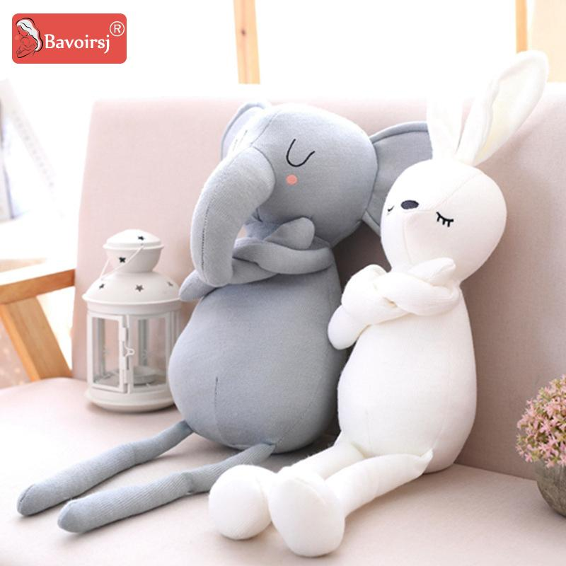 2019 Grey Elephant Rabbit Cartoon Baby Toys Plush Stuffed Soft