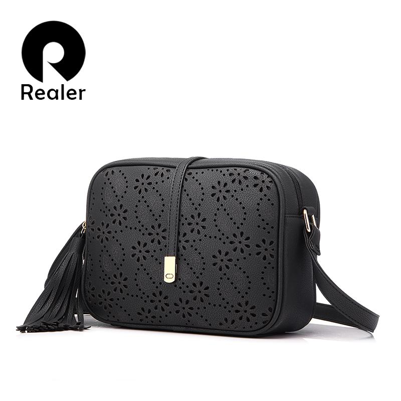 2019 REALER Brand Women Messenger Bags with Tassel Floral Hollow out ... d12b4e3d257b2