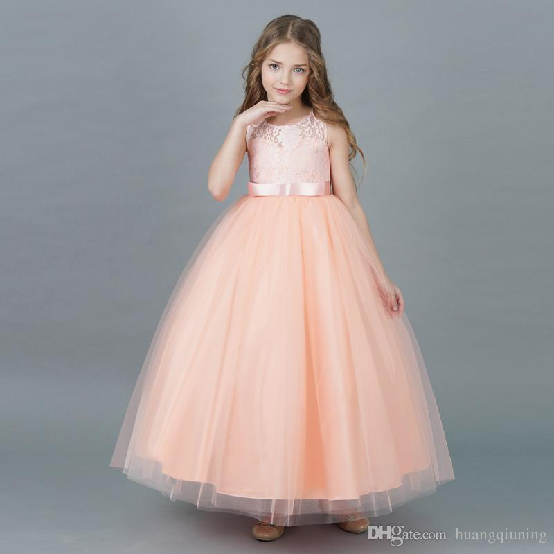 a16b8caf4043 2019 Flower Girl Dress Wedding Dresses Floor Evening Prom Dress Brand  Children S Clothing Girls Party Dresses For Kids Clothes 5 6 7 8 9 14 Year  From ...