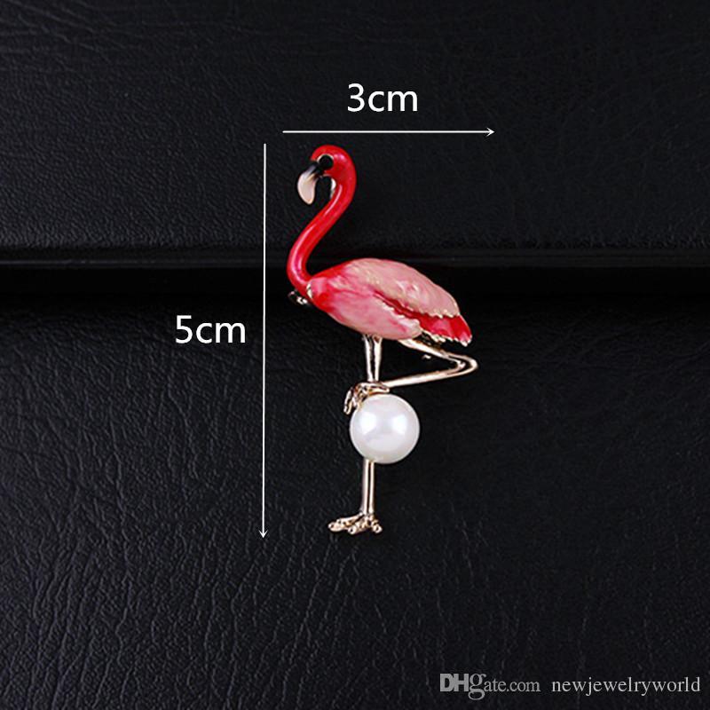 Fany ouro liga banhado Fantastic Flamingo Broche de alta qualidade Hijab Wear Pin para mulheres e homens Lpael Pinos