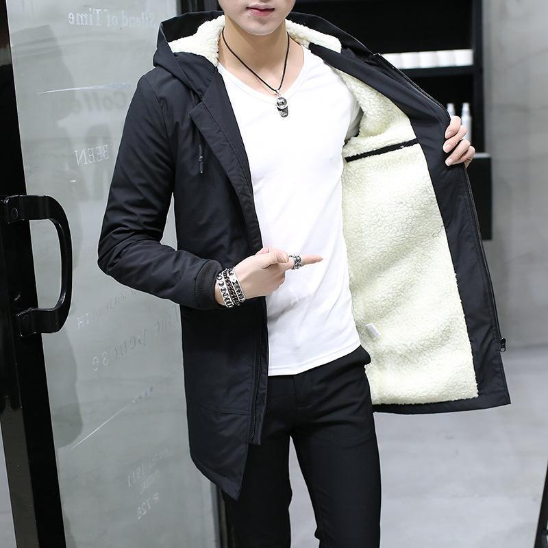 995629aa0 2017 Winter Jacket Men Hooded Slim Korean Parka Hombre Long Jacket ...