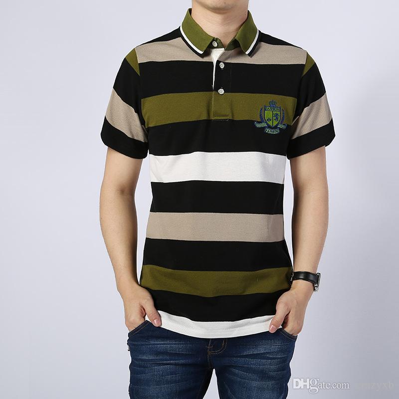 6d43997adc Compre Marca De Alta Qualidade Homens Camisa Polo Novo Verão Casual Listrado  Algodão Dos Homens Polo Sólida Camisa Polo Ralp Homens Camisa Homme De  Crazyxb