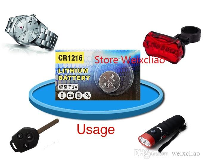 500 قطع 1 وحدة cr1216 3 فولت بطارية ليثيوم أيون زر خلية البطارية cr 1216 3 فولت بطاريات ليثيوم أيون عملة شحن مجاني
