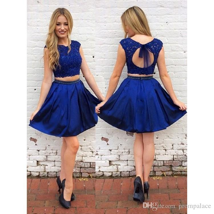 f980fab8559 Two Pieces Short Homecoming Dresses Lace Appliques Satin With Sexy Open  Back Cocktail Dresses A Line Above Knee Graduation Gowns Cute Homecoming  Dresses ...