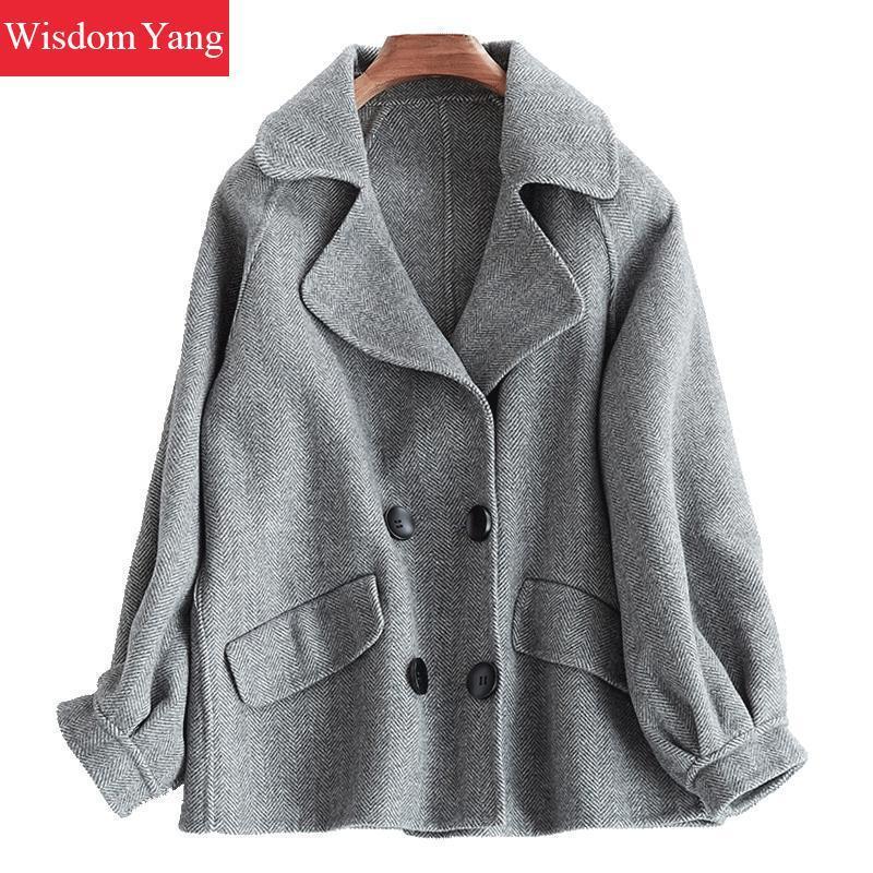 detailed pictures 68d68 7f738 Elegante giacca di lana scozzese grigio kaki donna cappotti inverno 2018  femminile cappotto corto donna di lana cappotto casual signora tuta  allentata