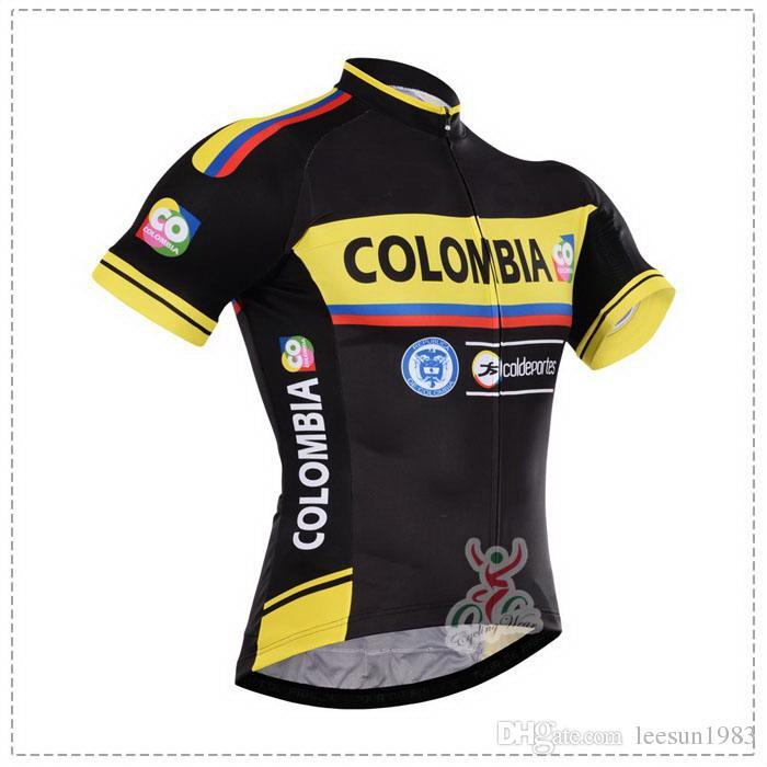2015 COLOMBIA PRO EKİPİ SARI SİYAH C21 KISA KOYU CYCLING JERSEY YAZ CYCLING GİYİM ROPA CICLISMO + BIB SHORTS JEL PAD SET BOYUTU: XS-4XL