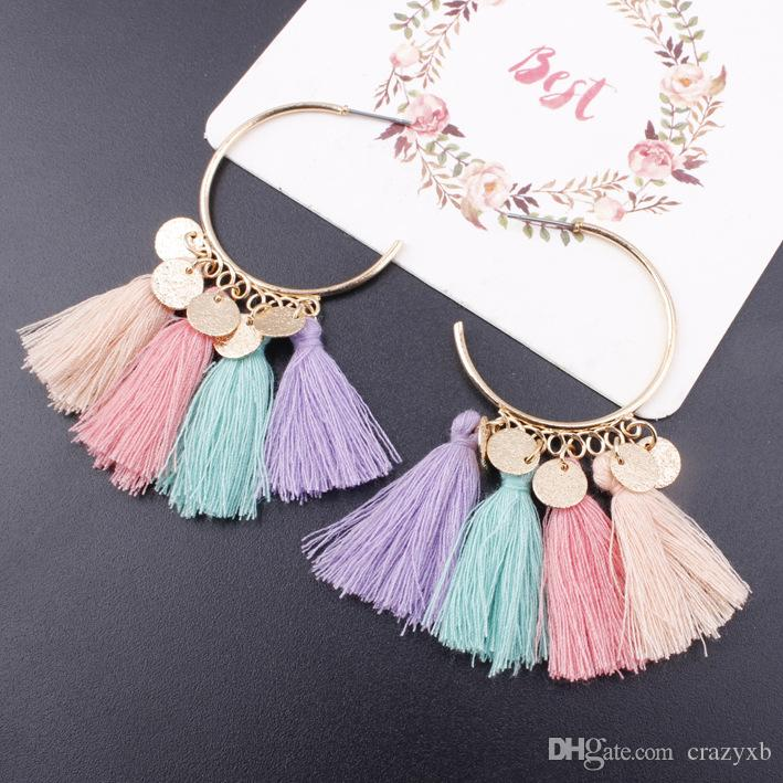 Bohemia Statement Tassel Earrings Gold Color Round Drop Earrings for ... 3cc21c43cc97