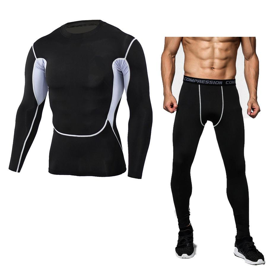 Compre Nuevo Traje De Compresión De Ajuste Seco Fitness Tight Running Set  Camisa Legging Ropa Deportiva Para Hombres Demix Negro Gimnasio Traje  Deportivo A ... c746b7cf0c54d