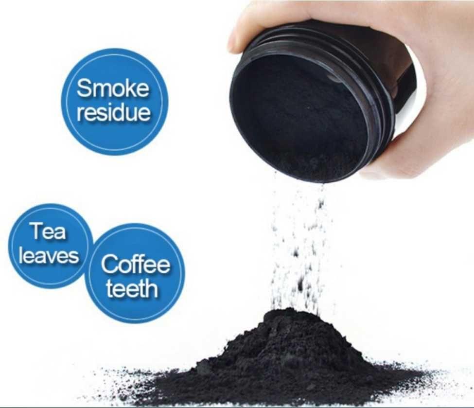 100 % 천연 유기 활성 숯 이빨 분말 미백은 연기가 차 커피를 제거 노란 얼룩은 숨을 구취 브러시로 구강 케어