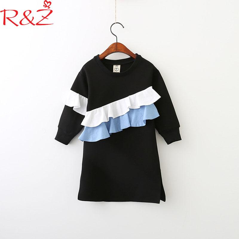 R&Z Family Matching Outfits 2018 New Spring Cotton Dresses for Baby Girls and Mom Black Folds Long Sleeves for Mother & Kids