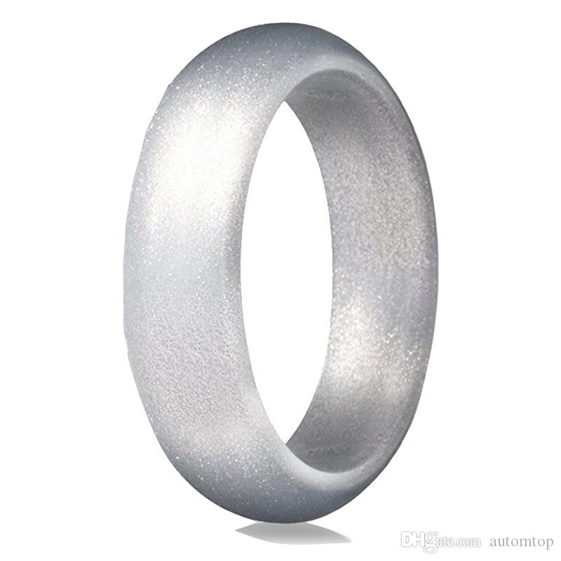 Silicone Wedding Ring.Free Dhl Silicone Wedding Ring Rubber Engagement Bands 5 7 Mm Wide Pearl Powder Ring Jewelry For Outdoor Sports Daily Wearing 9 Colors H507f