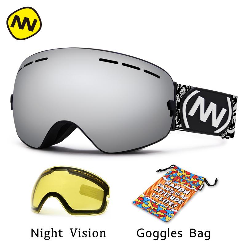bda62b3beaee8 Compre Nandn Marca Óculos De Esqui Uv400 Anti Fog Grande Máscara De Esqui  Óculos De Esqui Dos Homens Mulheres Snow Snowboard Goggles De Capsicum, ...
