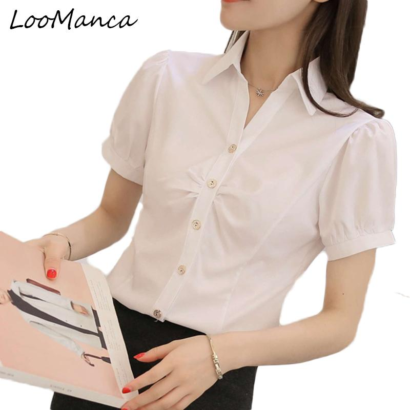 38307f72f0c8d 2019 Plus Size 4XL 5XL Short Sleeve Shirt Female Formal Office Blue White  Blouse Female Slim Chiffon Blusas Femininas Tops From Mangcao