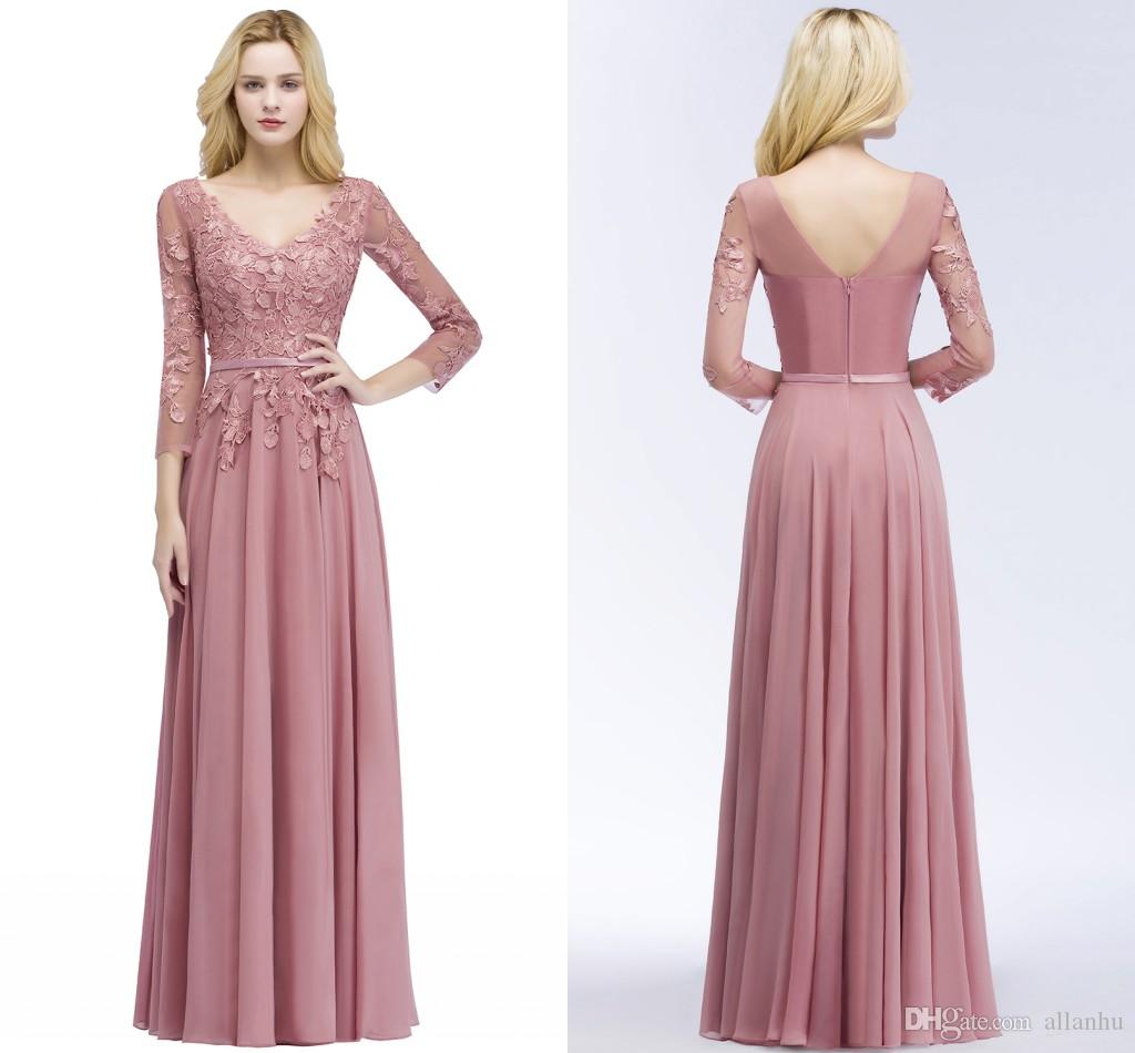 aa05d31123 Cheap On Sale 2018 Blush Pink A Line Prom Dresses Long Sleeves V Neck Lace  Applique V Back Evening Gowns Party Dresses US2 US 16 CPS910 Vintage  Wedding ...