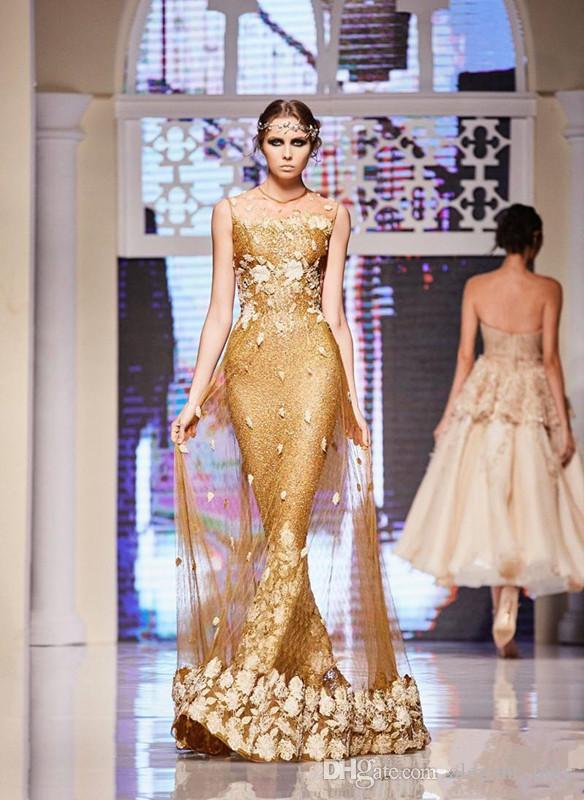 Gold Dresses Evening Wear Sequined Mermaid Sheer Jewel Neckline Party Evening Gowns 3D Appliques Floor Length Formal prom Dress Elie saab