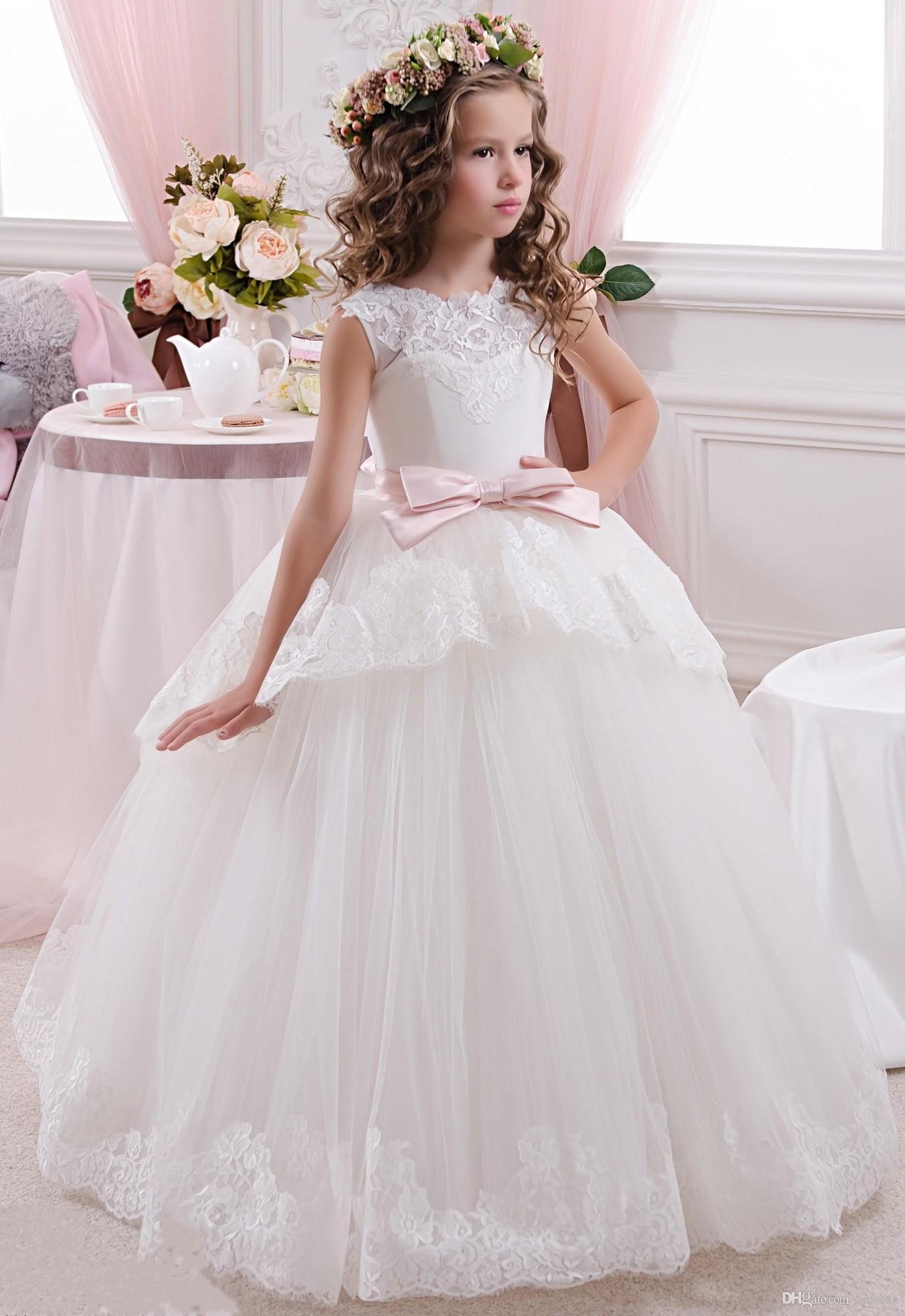 2018 New Cheap Flower Girls Dresses For Wedding Ivory White Lace Bow