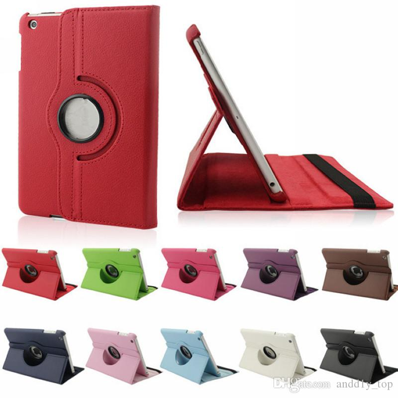 Cuero de la PU 360 grados giratorio Multi-ángulo Stand Folio mart Wake Up Sleep Case para Apple iPad 2 3 4 mini 1 Air Pro