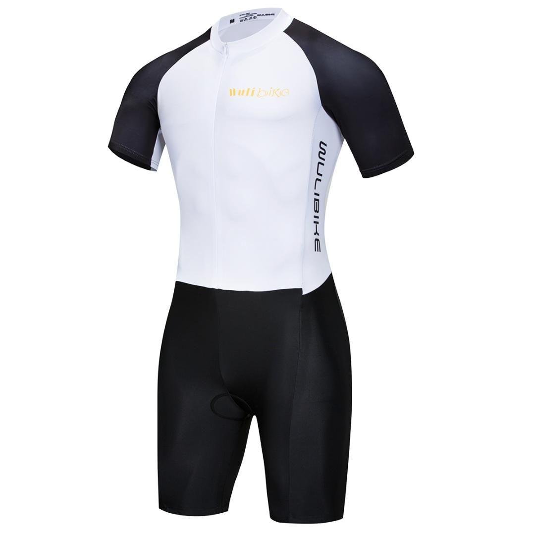 58dc595d9796 Traje de baño de secado rápido Triathlon Tri Suit de manga corta - Triatlón  Traje de carrera con cremalleras extendidas Respirable Durable