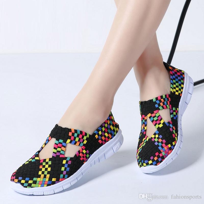 Compre Zapatos Planos De Las Mujeres Zapatos Tejidos De Las Mujeres