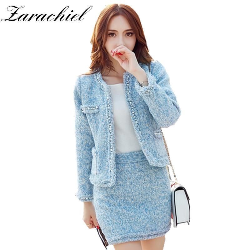 14914098d1c69 Acheter Zarachiel Ciel Bleu Costumes Pour Femmes Perles Tweed Veste Courte  Manteau De Laine + Bodycon Jupe Crayon Costume 2018 Winter Girl Outfit De   59.01 ...