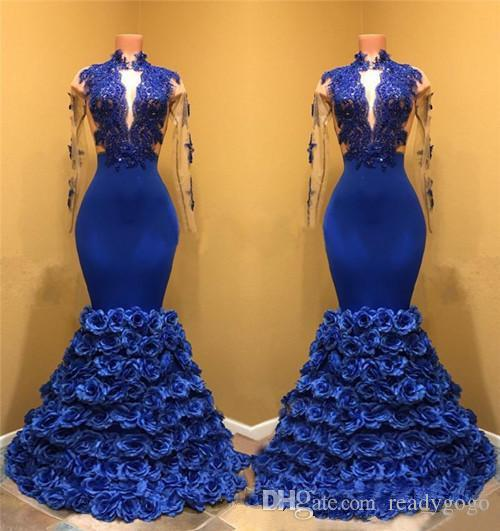 Sexy Royal Blue Formal Evening Dresses Beaded Appliques Long Sleeve Prom Dress Handmade Flowers Mermaid Plus Size Formal Gowns African Dress