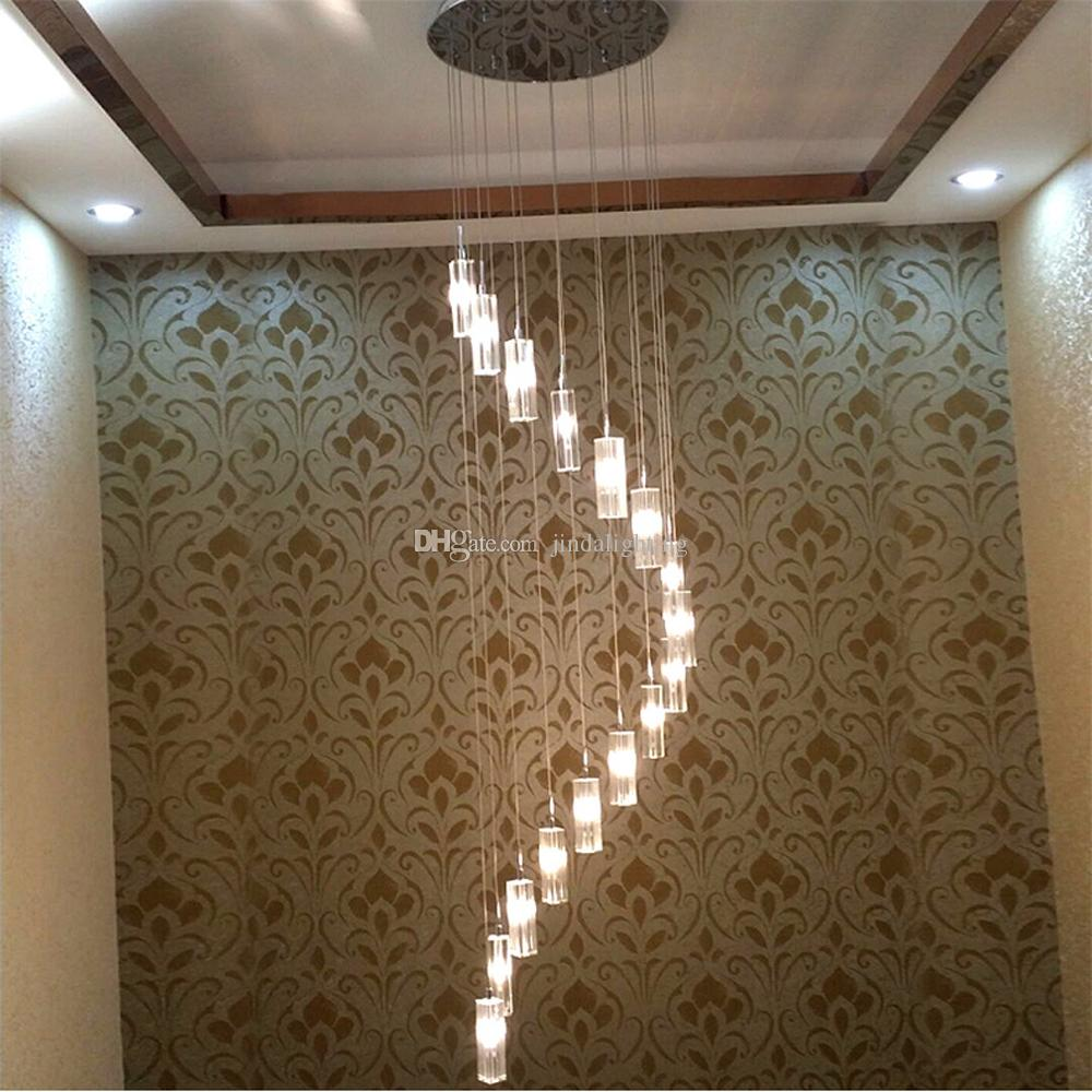 Duplex staircase pendant light modern staircase pendant lamp led crystal chandelier rotating staircase lamp long pendant lamps