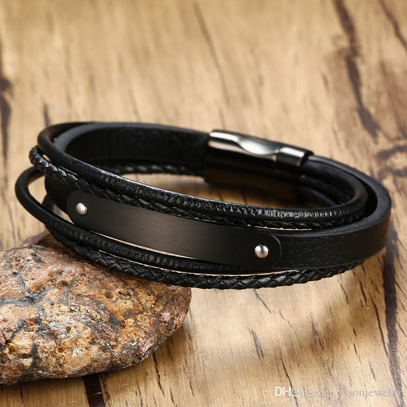 Free Engraving Matt Blank Curved Plate Leather & Stainless Steel Bracelet Wrap Black Wristband Gifts for Men